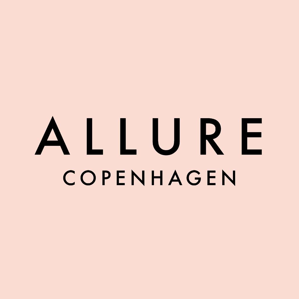 Allure Copenhagen logo med fersk baggrund og sort tekst